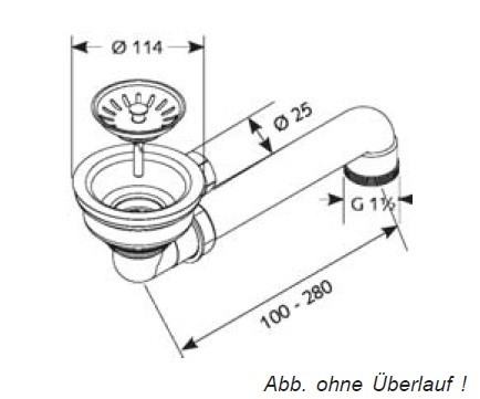 Ab-/Überlaufgarnitur mit Siebkorb-Stopfenventil